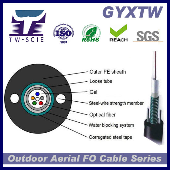 GYXTW for Aerial Installation 2/4/6/12 Core G652D Fiber Optic Cable
