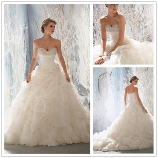 Strapless Bridal Ball Gown Sweetheart Organza Flowers Wedding Dresses W1471936