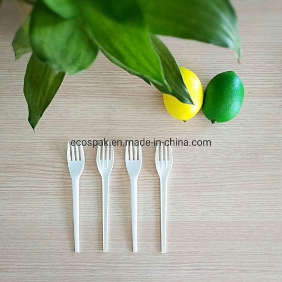 6.5 Inch Heavy Weight Biodegradable Compostable Cornstarch Disposable Cutlery Fork