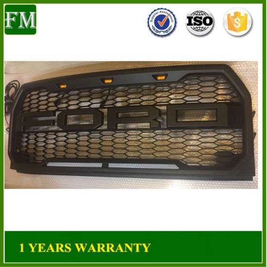 2015-2017 Ford F-150 F150 Raptor Style Conversion Black Grille Grill W/F&R/LED