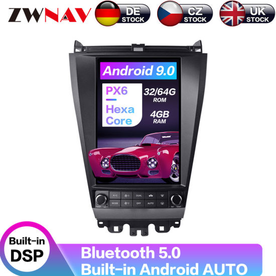 Android 9.0 64GB Tesla Style Car Radio GPS Navigation DVD Multimedia Player for Honda Accord 7 2003-2007 Tape Recorder Head Unit