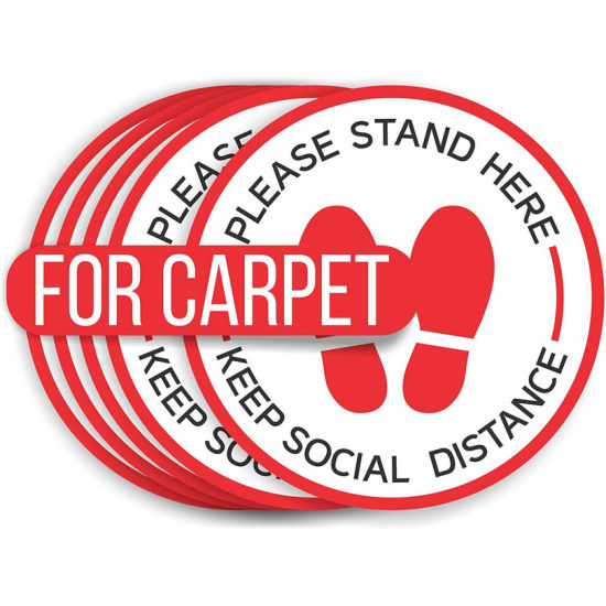 Anti-Slip Safety Notice Social Distancing Floor Decals for Carpet