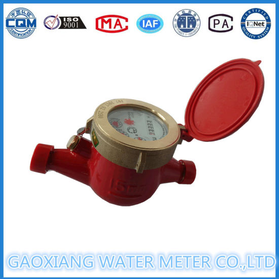 Red Color Brass Hot Water Meter Lxsr15-50