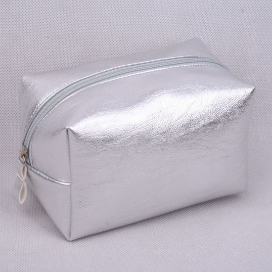 Metallic Sliver PU Square Shapeladies' Cosmetic Bag/Pouch, Makeup Bag