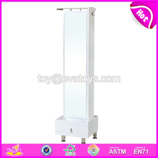 Wholesale Modern Bedroom Furniture Wooden White Full Length Mirror with Drawer Cabinet W08h088