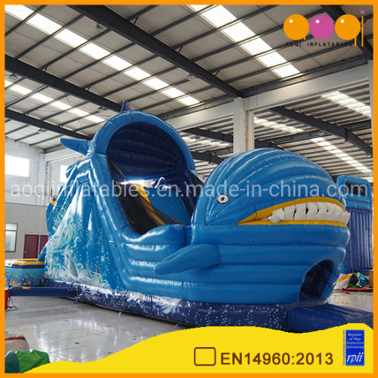 Hot Selling Shark Shape Inflatables Slide with Swimming Pool (AQ139)