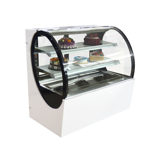 Commercial Wholesale Marble Curve Glass Table Top Cake Display Showcase for Cake