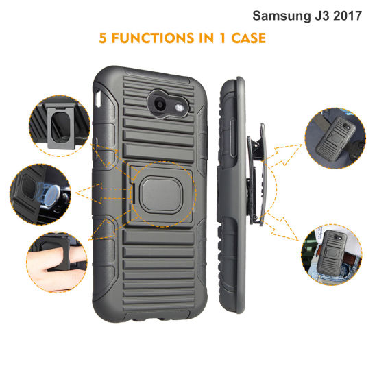 Manufacturer Wholesale for 2017 Newest Arrival Smart Cell Phone Case with Belt Clip and Kickstand for Samsung Galaxy J3