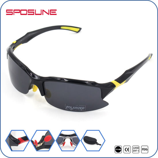 f76b5c99f2 Black Polarized Cycling Sport Sun Glasses Promotional Custom Logo Anti UV  Driving Riding Eyewear pictures