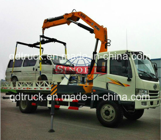 3 tons Road Wrecker Truck, FAW Articulated Boom Crane Wrecker Lifting Truck pictures & photos