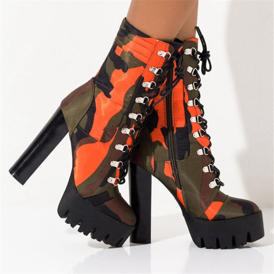 Winter Warm Womens Lace up Chunky Heel Platform Ankle Bootie Ladies Boots