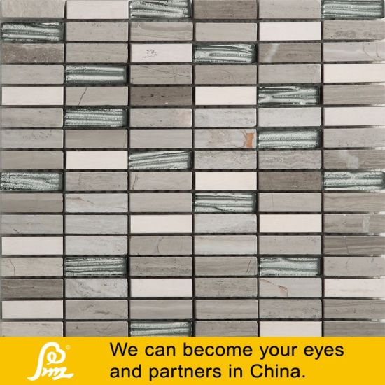 Hot Sale Silver Metal Mix Grey Stone Crytal Glass Mosaic pictures & photos
