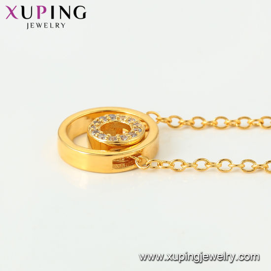 44436 Xuping Fashion Rose Gold Color Scrub Surface Necklace pictures & photos