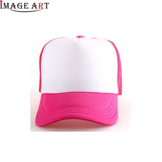 Custom Sublimation Print Sponge Front Mesh Trucker Cap Hat (Fuchsia Color)