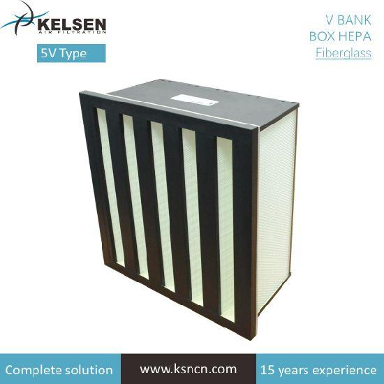 HVAC System Air Filtration Galvanized Steel Frame H13 V Bank HEPA Filter