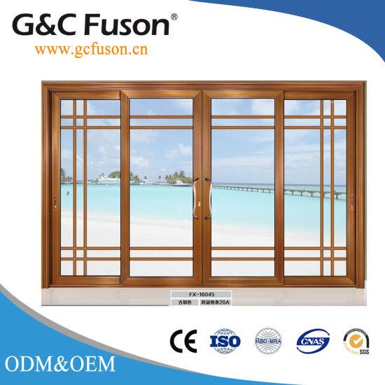 China German Aluminium Wood Grain Double Glazed Sliding Doors