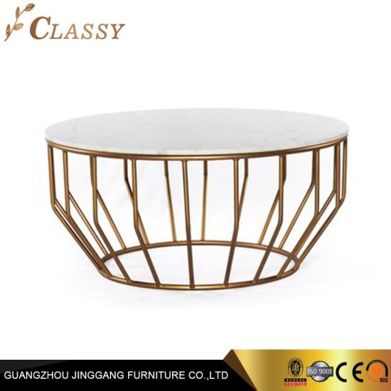 China Modern Round Marble Coffee Table With Golden Legs China