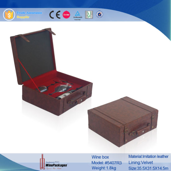 Brown Leather Wine Carrying Box Case (8407)