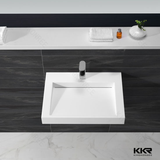 Italian Modern Artificial Stone Wall Mounted Solid Surface Wash Hand Basin