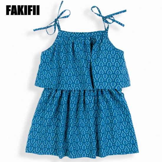 33e3efcce7 OEM/ ODM Factory Kids Wear Children Apparel Summer Girl Cotton Blue Flora Beach  Dress Elegant Clothes