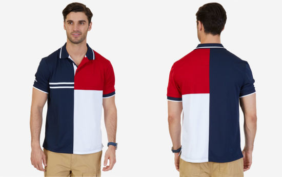 Classic Fit Pieced Color Blocked Performance Polo Shirt pictures & photos