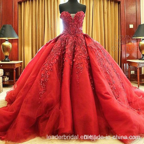 China Vestidos De Noiva Red Bridal Ball Gowns Strapless Organza