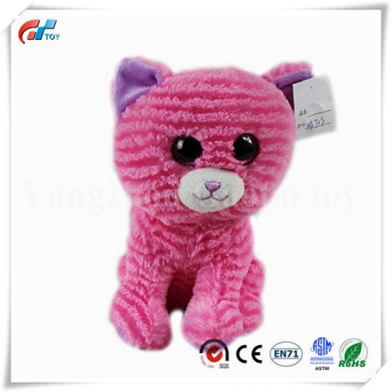 Cute Custom Washboard Material Hink Plush Cat Animal Toy Big Eyes