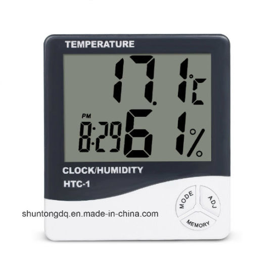 Indoor Room LCD Electronic Temperature Humidity Meter Digital Thermometer Hygrometer Weather Station Alarm Clock HTC-1 pictures & photos
