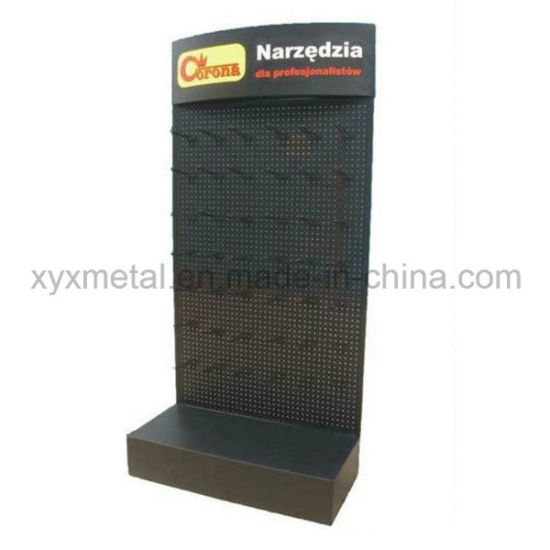 Powder Coated Metal Pegboard Floor Shelf Stand Tools Exhibition Display Rack pictures & photos