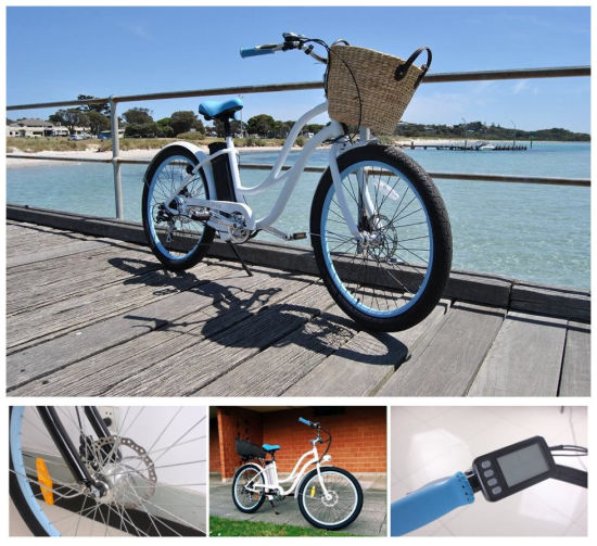Women Cruiser Battery Bicycles for Sale with Electric Push Bike Motors pictures & photos