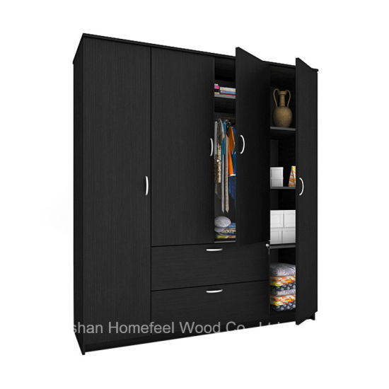 Free Standing Wooden 4 Doors Bedroom Wardrobe Closet Furniture (HF WS023)