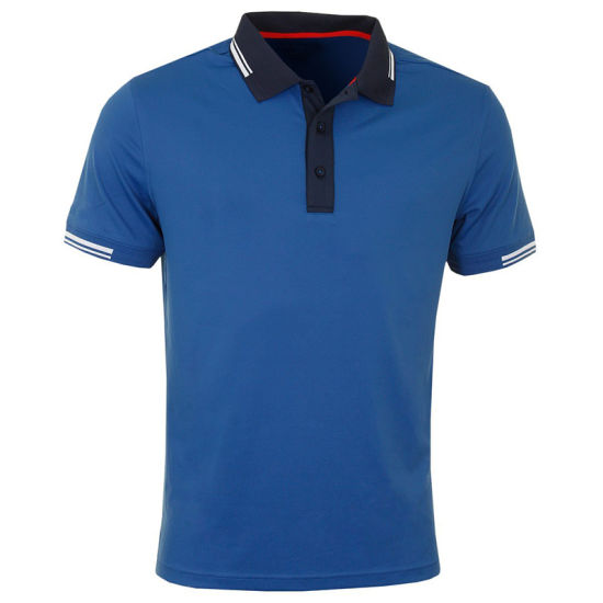 Mens Full Contrast Collar Stretch Golf Polo Shirts with Custom Logo