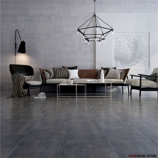 Rustic Large Format Dark Grey Cemento Porcelain And Ceramic Floor Wall Tiles
