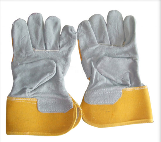 Free Sample Cow Split Leather Breathable Cotton Strip Backing Welding Work Safety Gloves