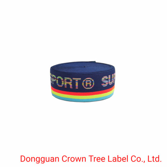 Factory Price Colorful Elastic Woven Ribbon with Customized Brand Name Logo