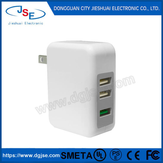 3 Ports QC3.0 USB Wall Charger 18W Travel Home Adapter