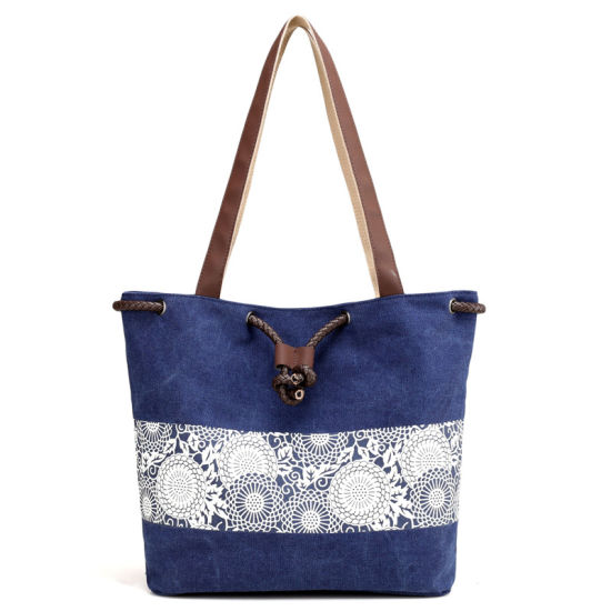 China New National Wind Dual Use Retro Printed Canvas Bag With Draw
