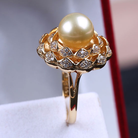 High Quality 925 Sterling Silver Ring with Gold South Sea Pearl pictures & photos