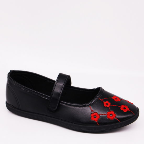 Embroidery PU Leather School Shoes Girls' Soft Flat Shoes