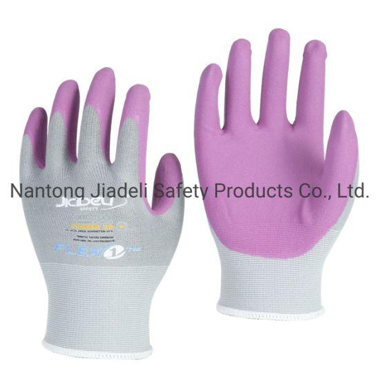 Colorful Micro-Foam Nitrile Palm Coated Nylon and Spandex Glove
