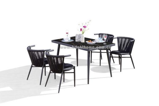 Simple 4 PCS Stackable Chair Dining Set Aluminium PE Rattan Patio Weaving Garden Outdoor Furniture Set