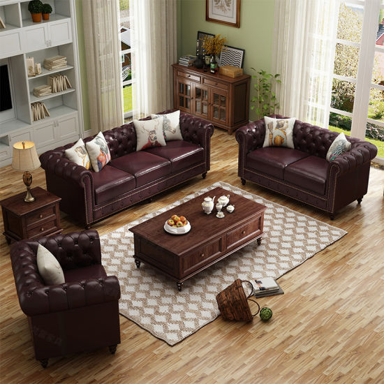 Luxury Antique Home Furniture Classic American Style Leather Chesterfield Sofa