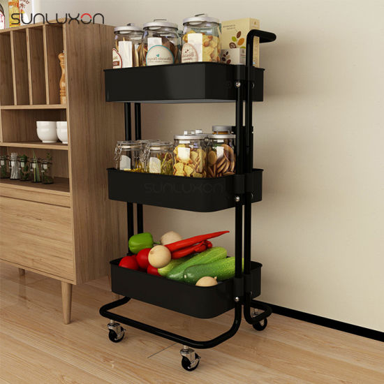 China Metal Kitchen Trolley with Wheels 3-Tier Heavy Duty ...