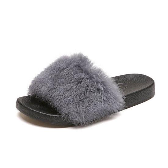 25de1b1ba0691 [Hot Item] Fox Fur Slippers Sandals Furry Slides, Mink Fur Sandal Slides  Slippers, Mink Fur Slides Slippers