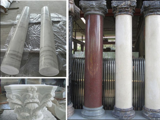 Cream/Black/Green/Yellow/Beige Marble Stone Column/Pillar for Residential/Commercial Building Material pictures & photos