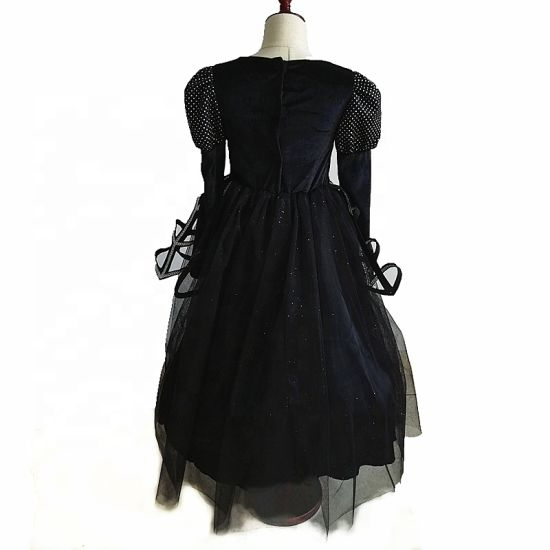 Wholesale Halloween Children Skirt Costumes Girl Black Mesh Dress Cosplay Daily Wear with Witch Hat