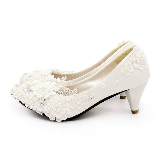 China White High Heels Romantic Pearl Lace Bridal Shoes Wedding