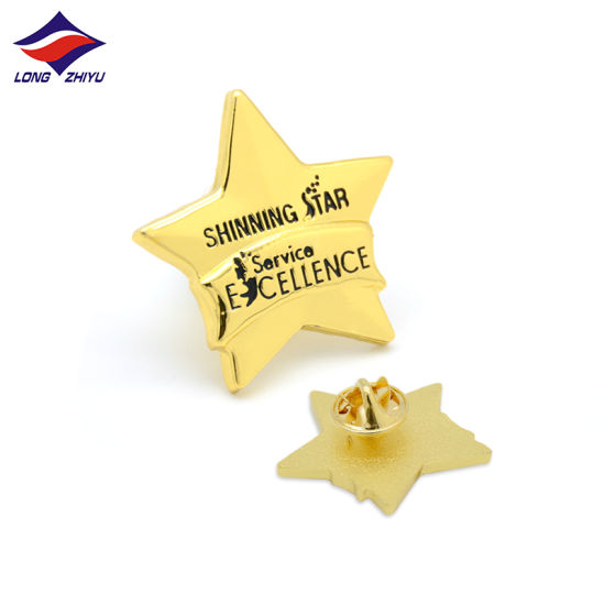 Longzhiyu 13 Years Professional China Maker Gold Plated Metal Badge Star Shape Pins with The Logo You Design Button Pins