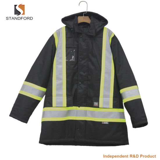 3 in 1 Outdoor High Visibility Safety Padded Jacket Reflective Stripes Uniform Winter Coat