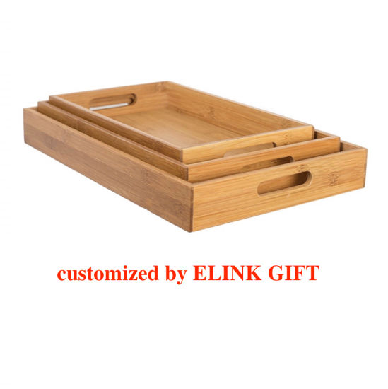 Natural Bamboo Wood Serving Plate Serving Tray with Handle Elegant Appetizer Tray